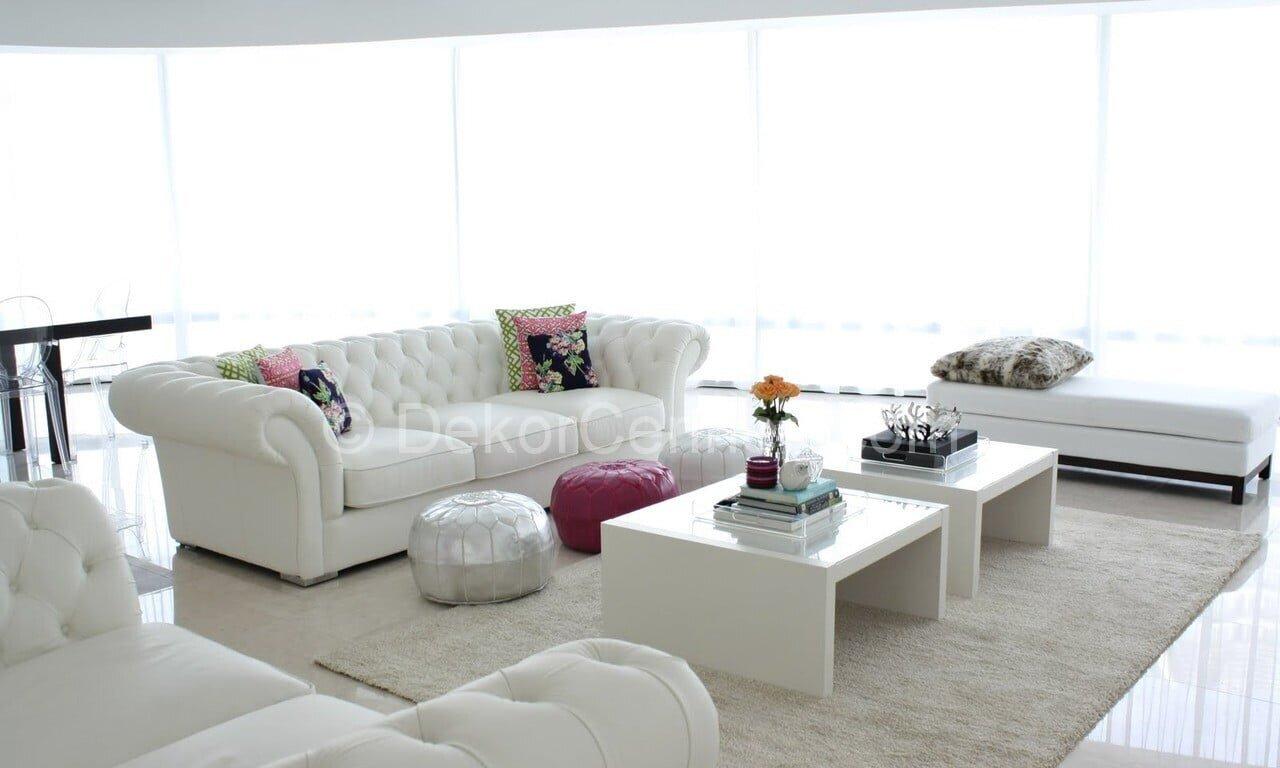 2014 beyaz salon dekorasyon örnekleri