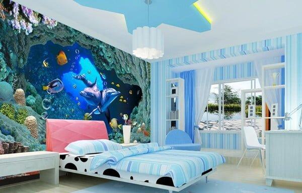 3d akvaryum resimli cocuk odasi duvar kagidi modeli