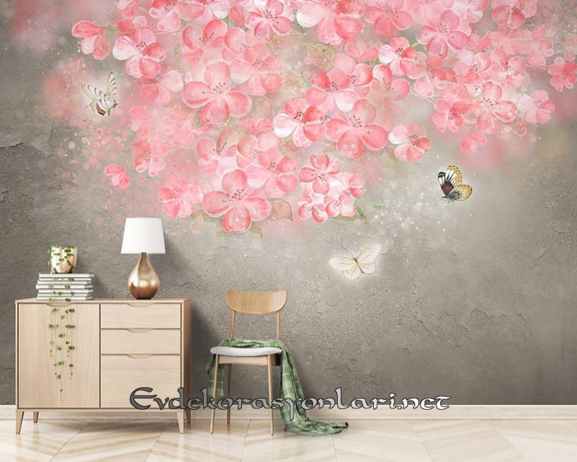 Çiçek Desenli Duvar Kâğıdı Modelleri
