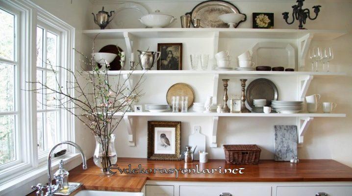 acik mutfak rafli dekorasyon onerileri