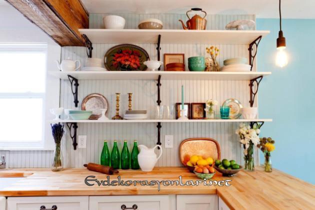 acik raf mutfak dekorasyon fikirleri