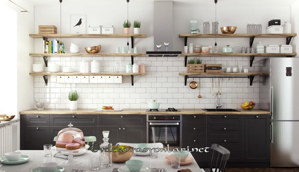 acik rafli modern tarz mutfak dekorasyon modeli