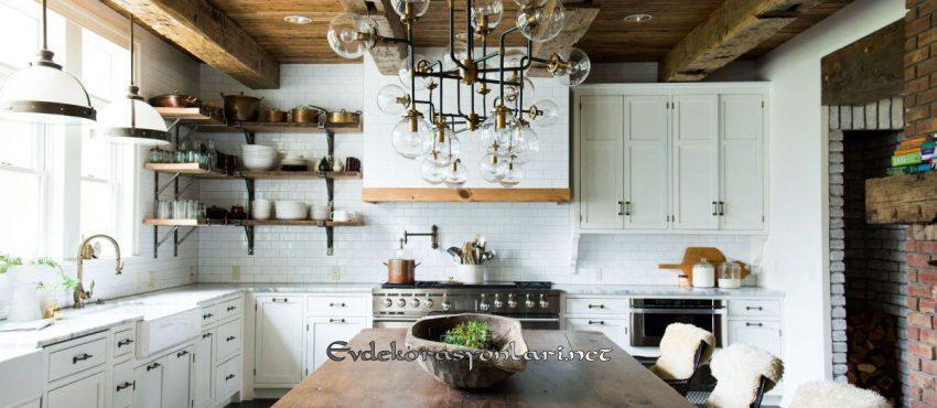 acik rafli rustik tarz mutfak dekorasyon modeli