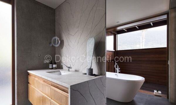 ahşap panel banyo duvarları