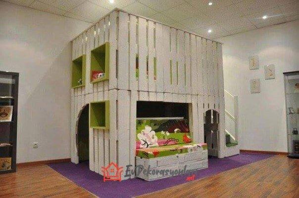 ahsap paletlerden cocuk odasi mobilyalari