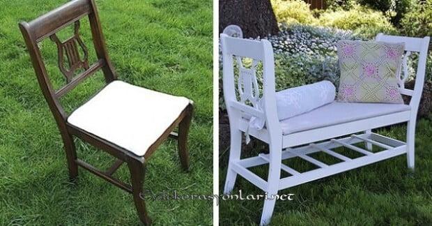 Dekoratif Örneklerle Eski Sandalye Geri Dönüşümleri