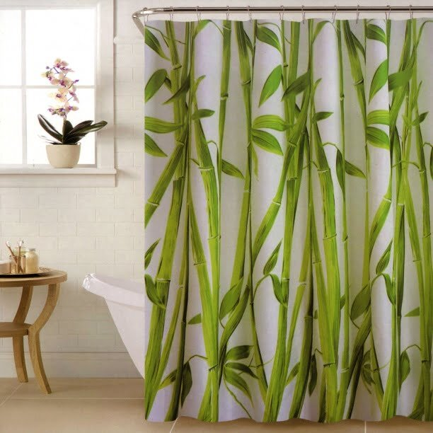 bambu desenli dekoratif dus perdesi modeli