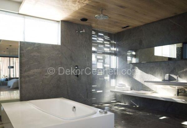 banyo dekorasyonunda gri renk kullanımı