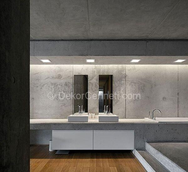 banyo dekorasyonunda saf beton kullanımı