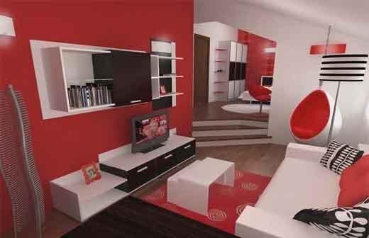 beyaz kırmızı salon dekorasyonu