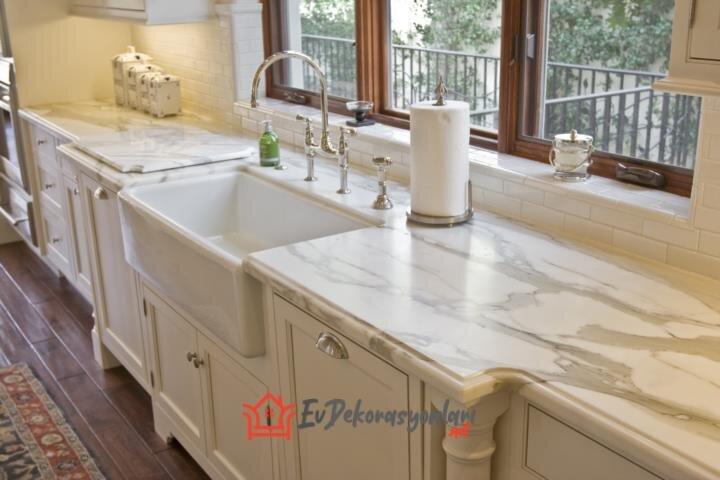 beyaz mermer mutfak tezgah modeli