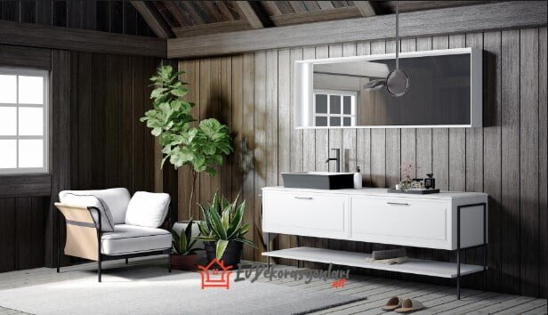 beyaz modern italyan banyo dolap modeli 2019