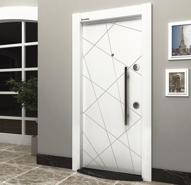 beyaz modern tarz celik kapi modeli