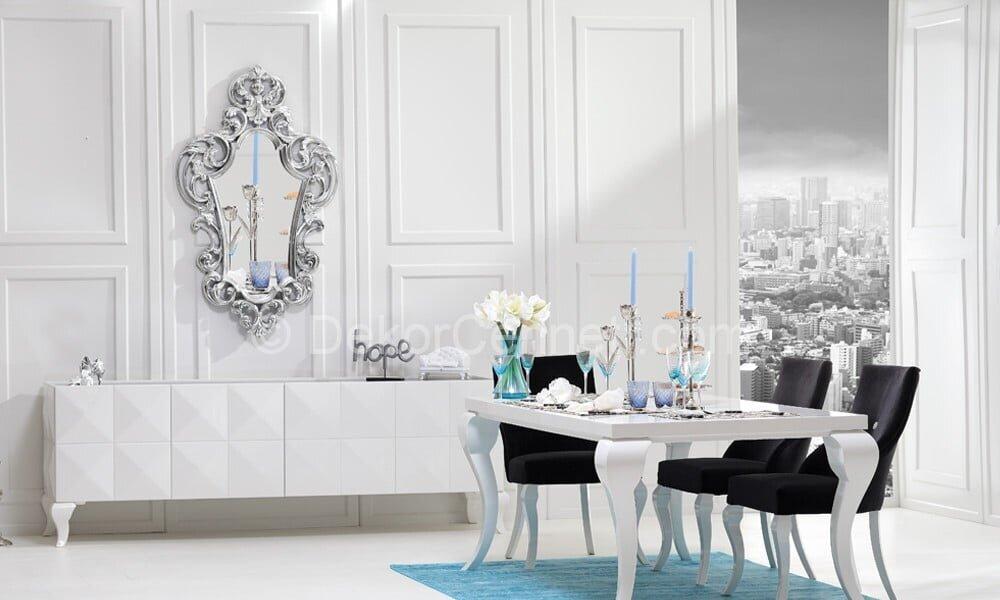 beyaz yemek odası takımları