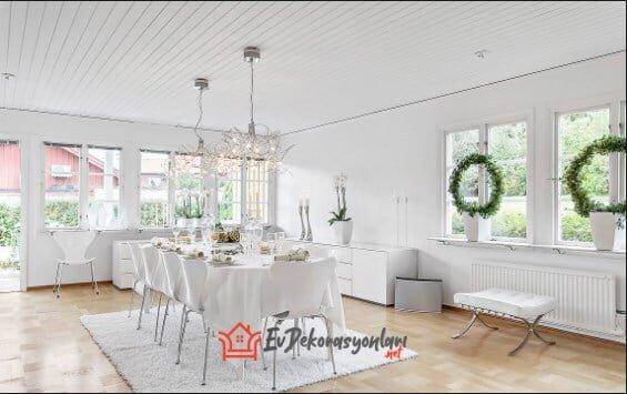beyaz yemek odasi dekorasyonu