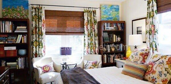 çiçekli yatak odası perdeleri