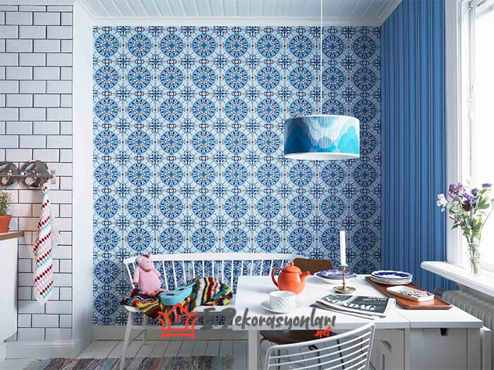 cini desenli dekoratif mutfak duvar kagidi modeli