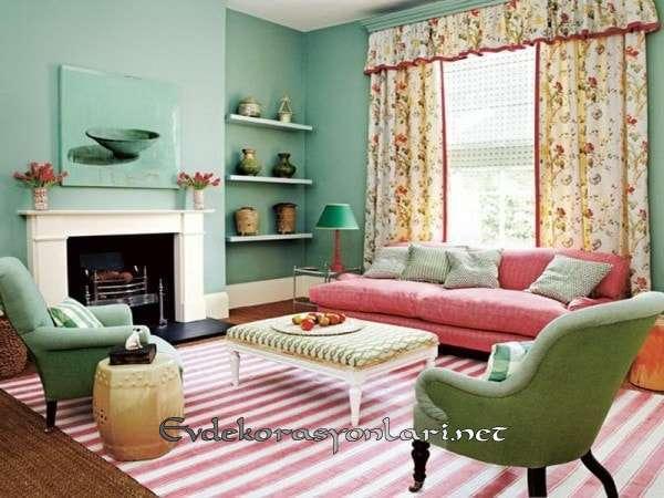 country stili oturma odasi dekorasyon modeli