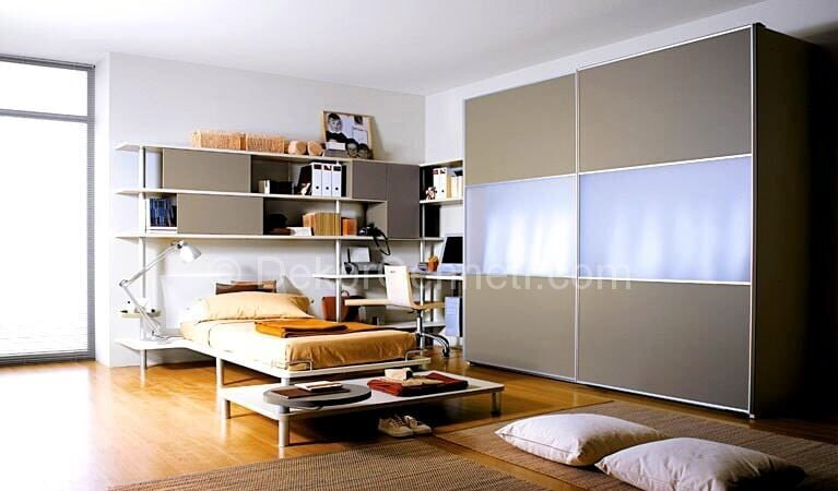 Değişik gri genç odası Fotoğrafları