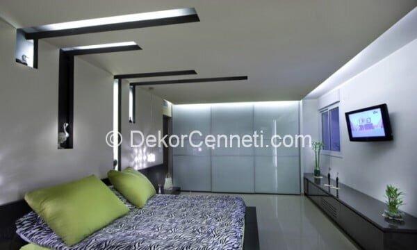 Değişik yatak odası asma tavan Modelleri