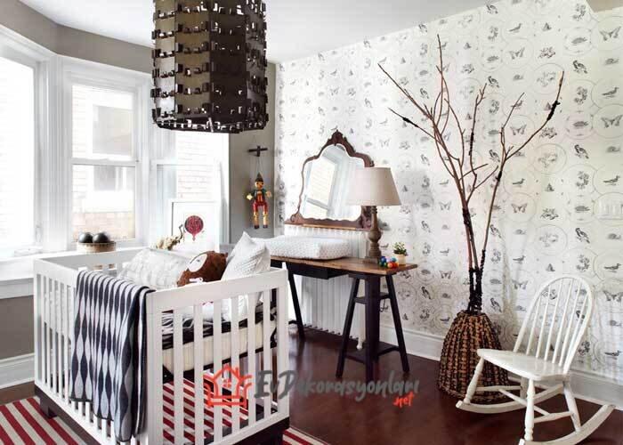 dekoratif desenli bebek odasi duvar kagidi modelleri