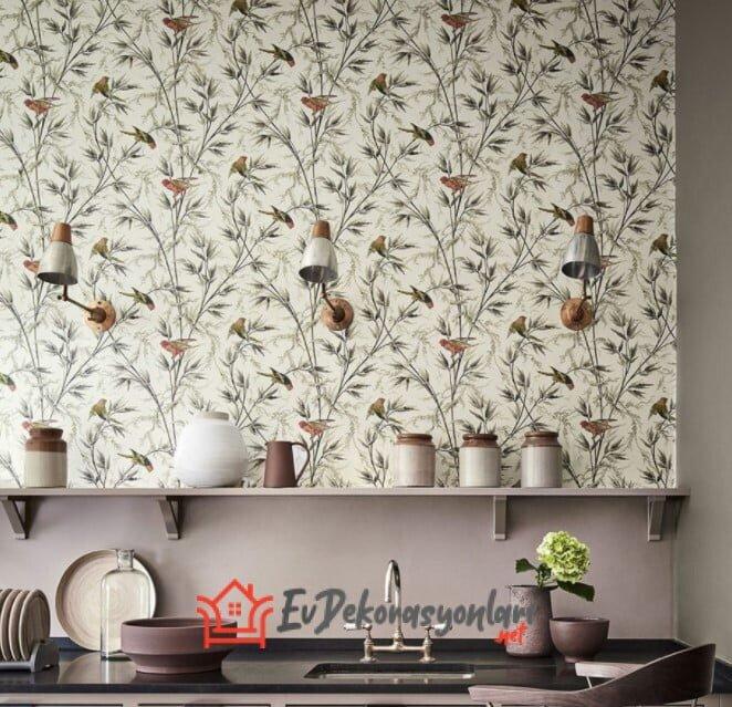 dekoratif desenli mutfak duvar kagitlari