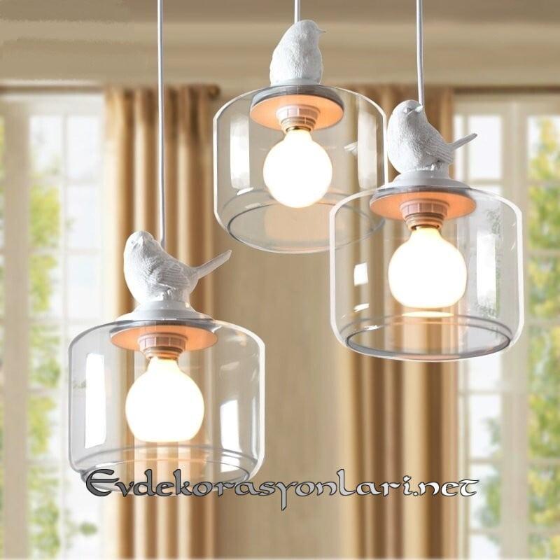 dekoratif kus figurlu sarkit lamba modelleri