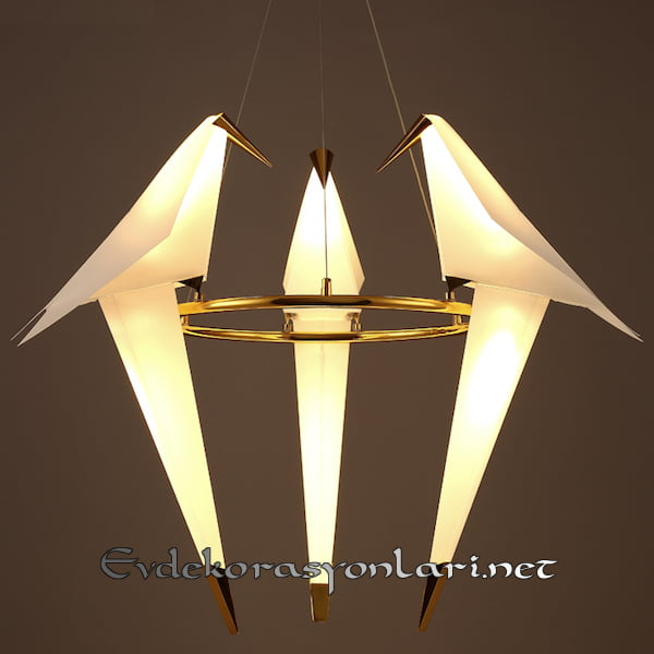 dekoratif origami kus figurlu sarkit avize modeli