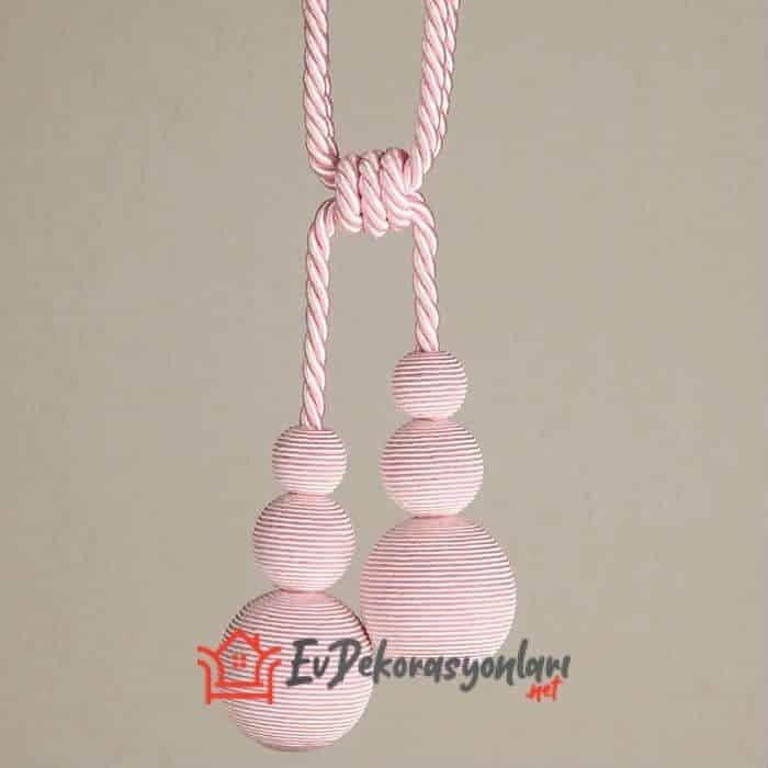 dekoratif pembe bracol perde aksesuar modeli