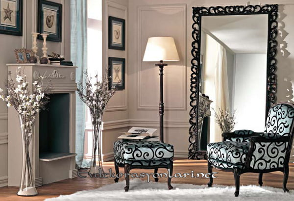 dekoratif siyah cerceveli buyuk boy aynasi modeli