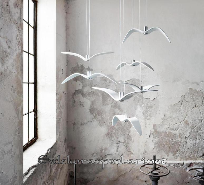 dekoratif ucan kuslar sarkit avize modelleri