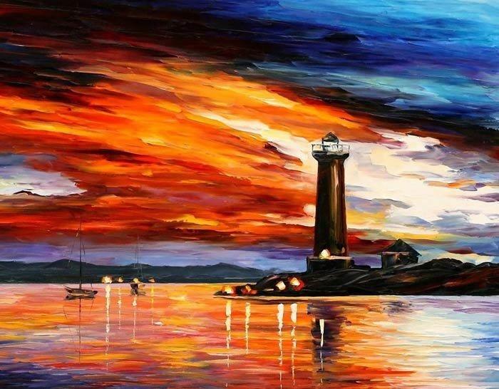 deniz feneri yagli boya tablo modeli