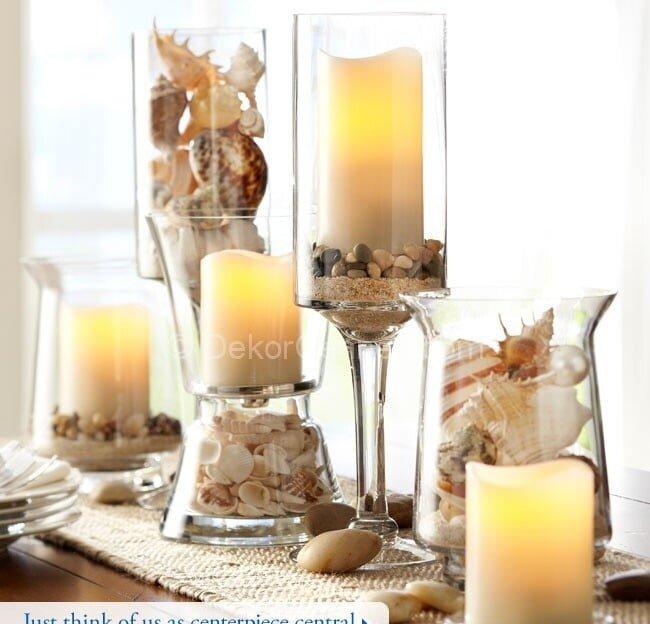 deniz kabukları ve mumlarla dekorasyon