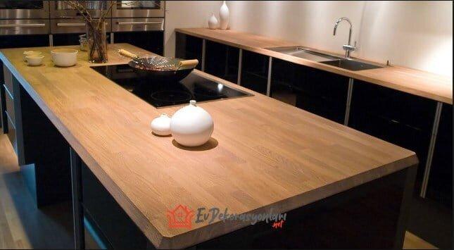 dogal ahsap mutfak tezgah modeli