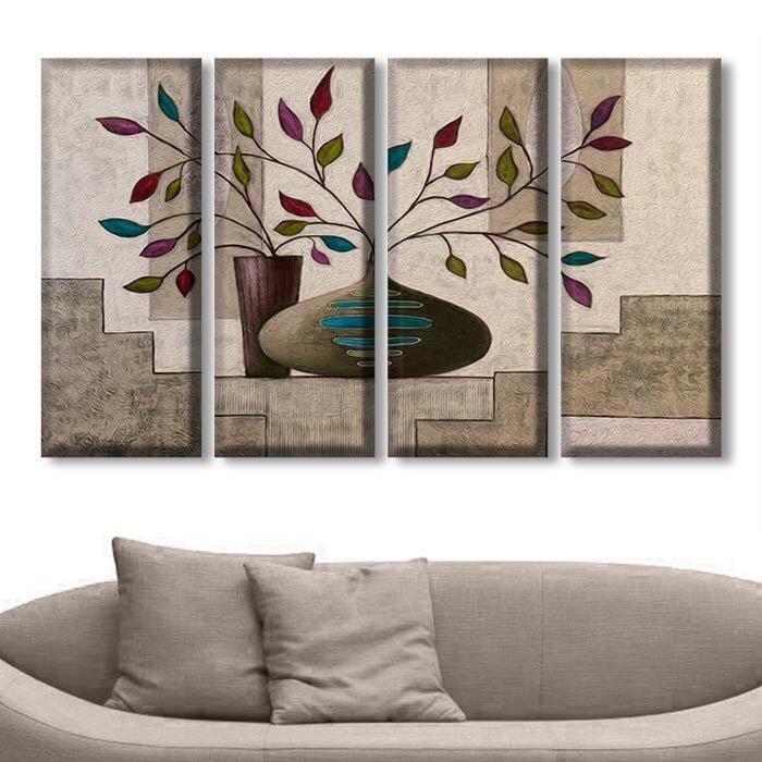 dort parcali dekoratif kanvas tablo modeli