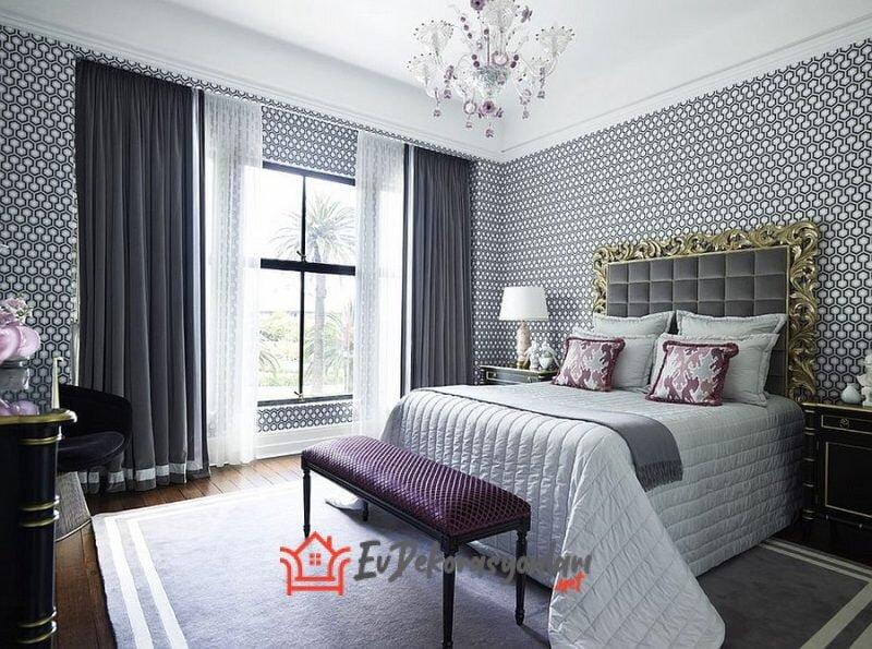 duz renkli modern yatak odasi perde modeli 2019