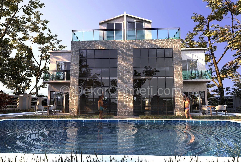 En Güzel villa mimari proje dwg Resimleri