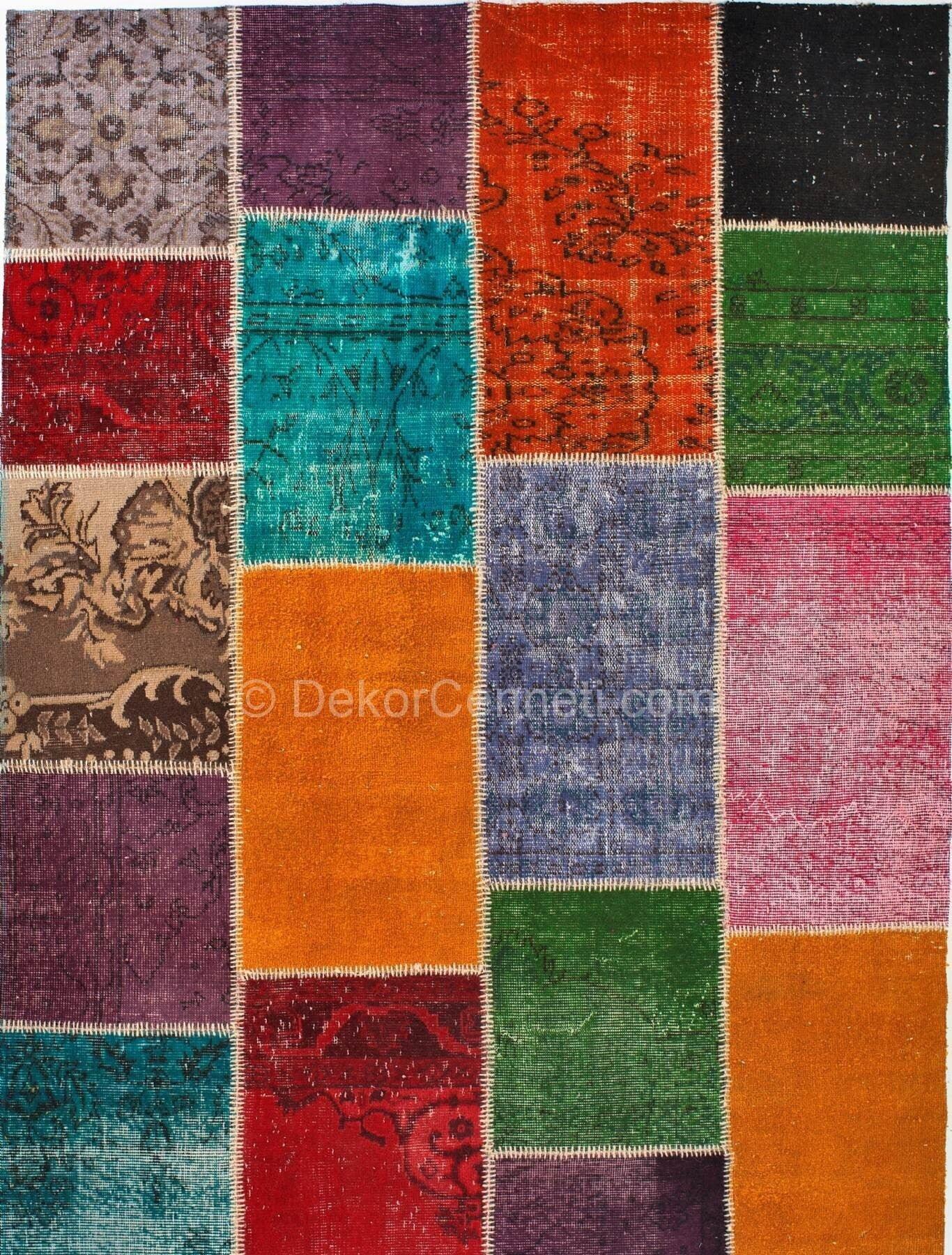 En Son patchwork deri halı Fotoları