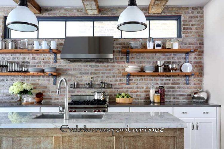 endustriyel tarz acik rafli mutfak dekorasyon modeli