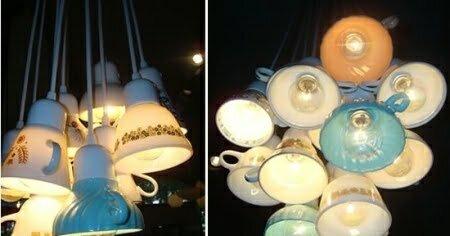 eski fincanlardan yapılan lamba modeli