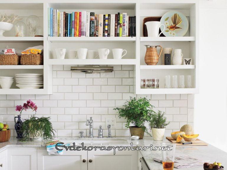 etkileyici acik rafli mutfak dekorasyon modeli