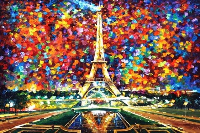 eyfel kulesi yagli boya tablo modeli