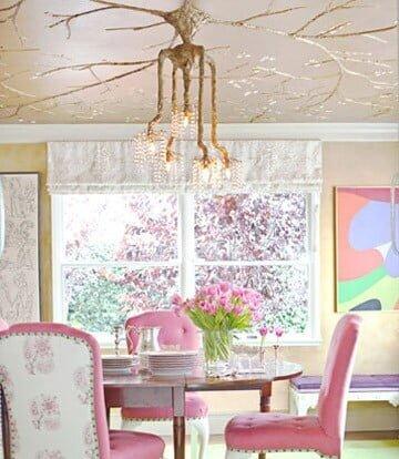 farklı renklerde yemek odası dekorasyonu