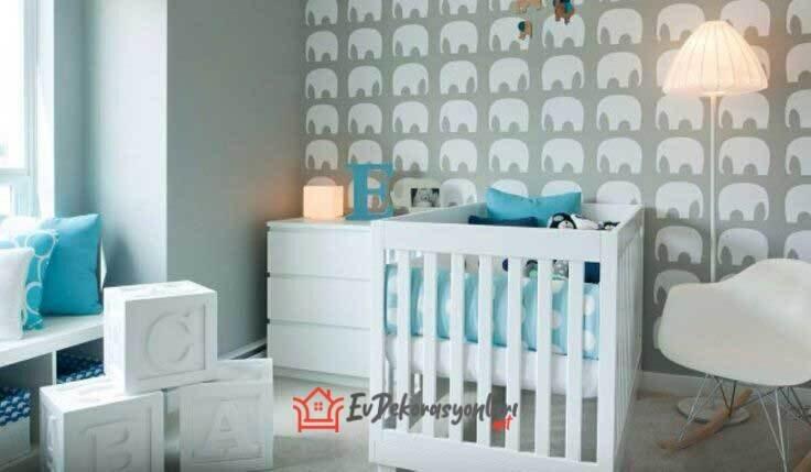 fil desenli bebek odasi duvar kagidi modeli