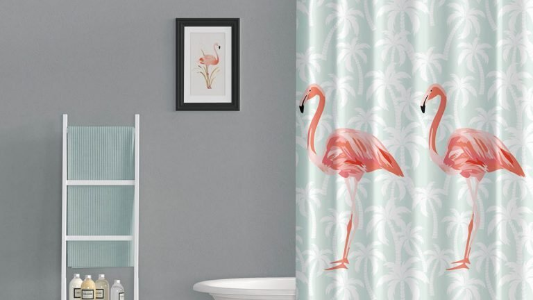 flamingo resim baskili dekoratif dus perdesi modeli