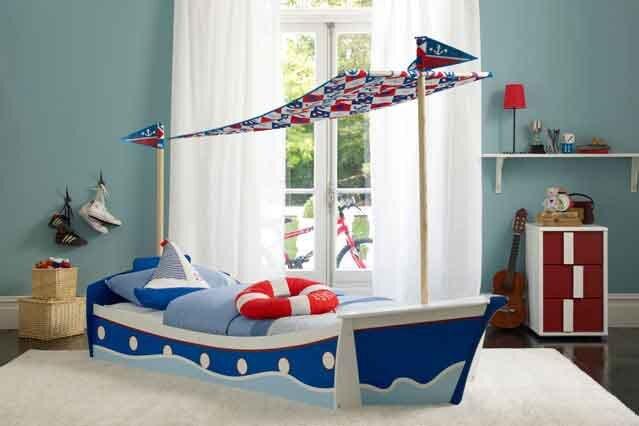 gemili deniz temali erkek cocuk odasi dekorasyon modeli 2019