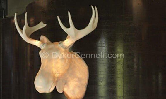 geyik şeklinde duvar lambası