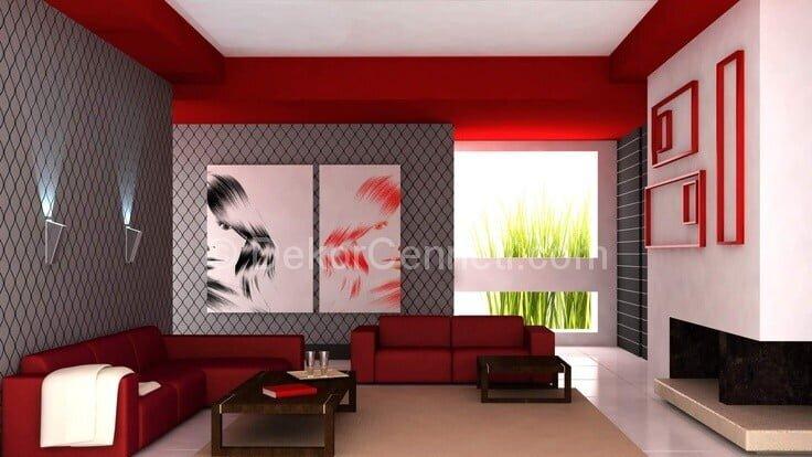 gri duvar ve kırmızı koltuklar