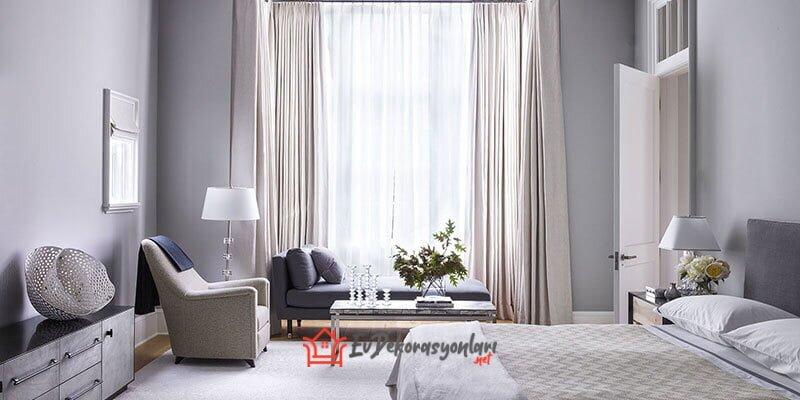 gri modern yatak odasi dekorasyon modeli 2019