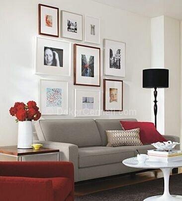 gri ve kırmızı ile salon dekorasyonu